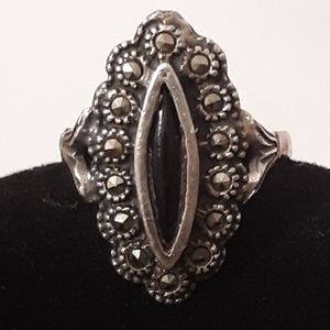 Vintage Blk Onyx 925 Silver Macacite ring Sz 7-8
